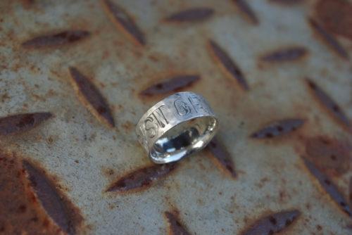Silberring graviert