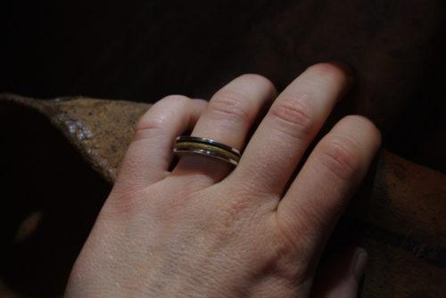 Ring aus Horn, Silber